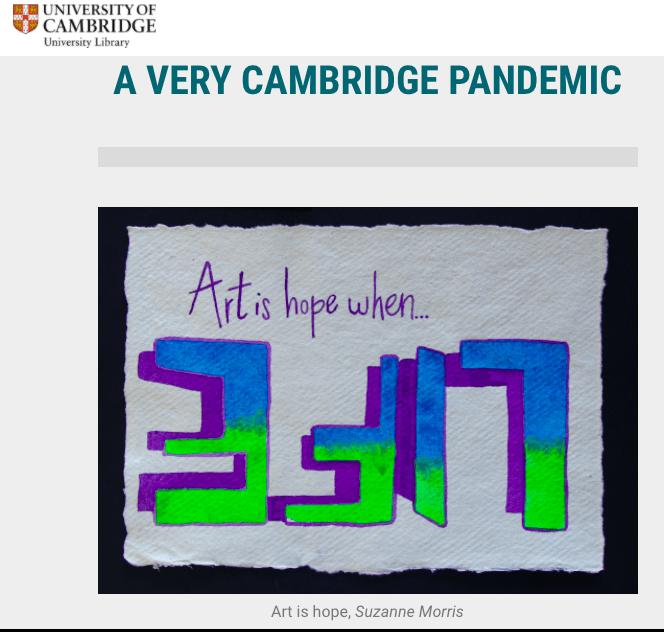 Cambridge University Library website screenshot showing my artwork
