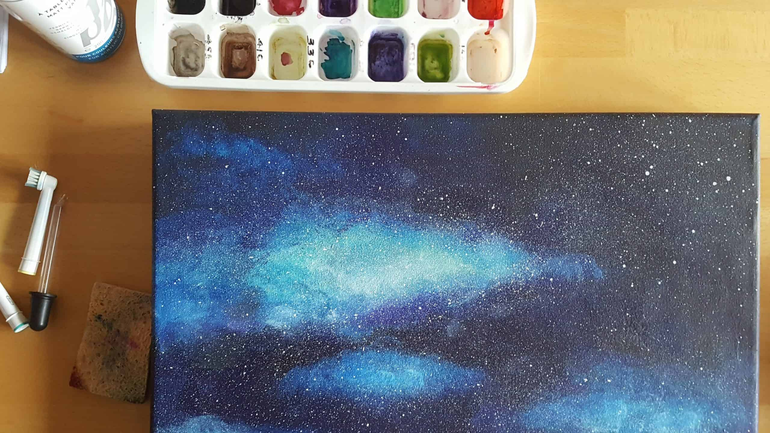 photo of canvas painting in progress
