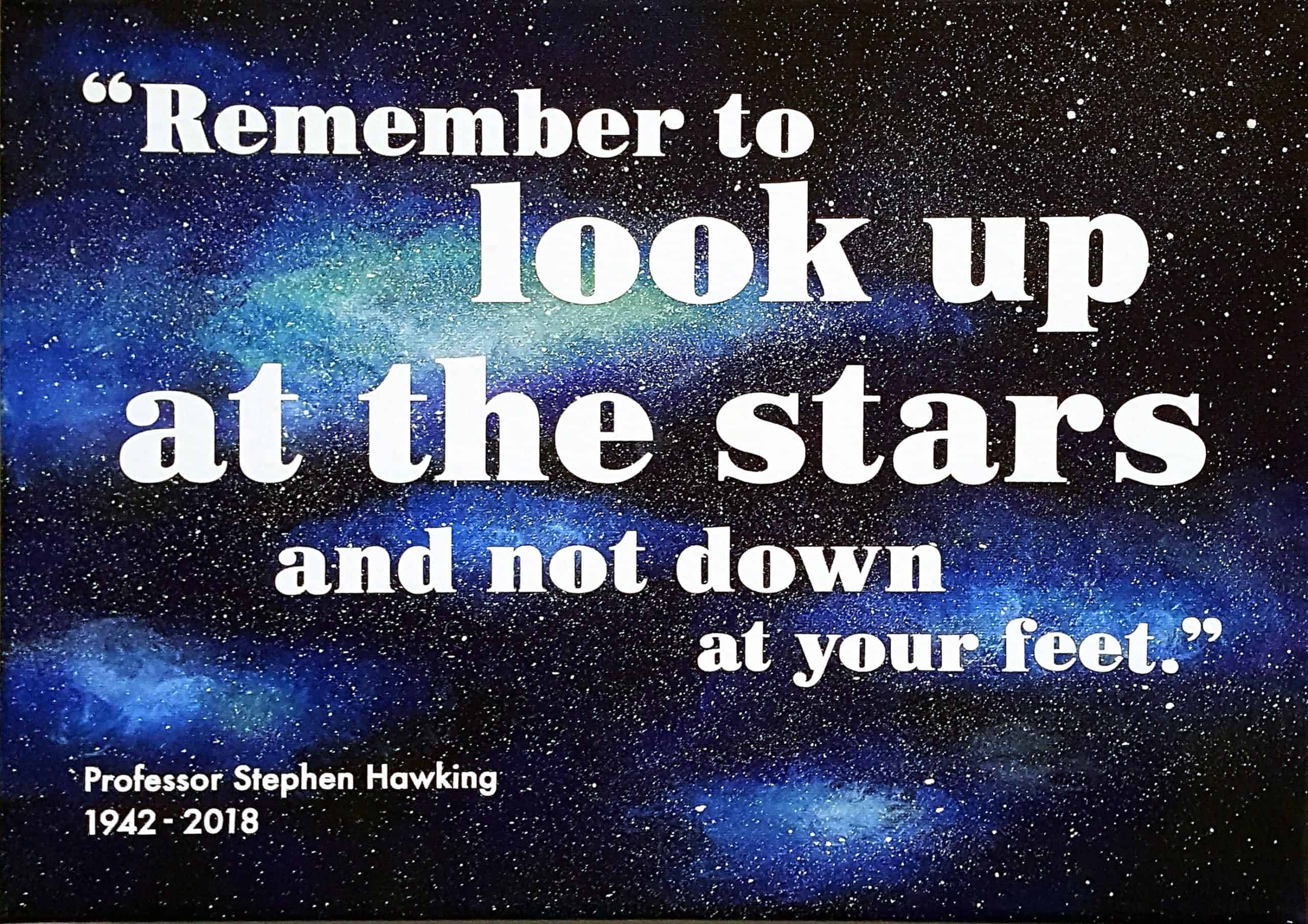 Painting for the Rowan Humberstone charity art exhibition - Prof Stephen Hawking quote